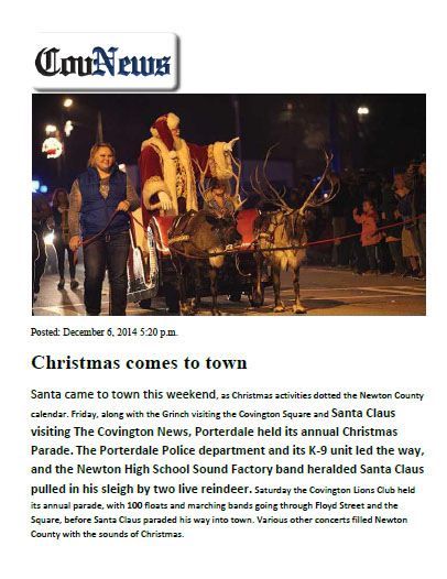 Porterdale Christmas Parade Santa